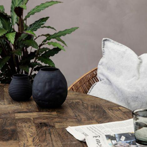 House Doctor Vase Groove Schwarz 10 cm