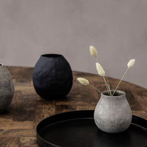 House Doctor Vase Groove Grau 10 cm