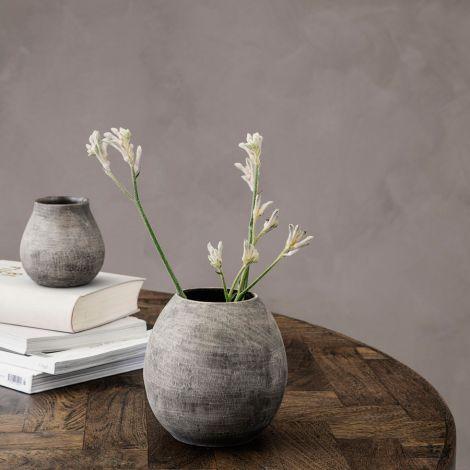 House Doctor Vase Groove Grau 14 cm •