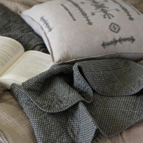 IB LAURSEN Tagesdecke Quilt Olive mit Pünktchen