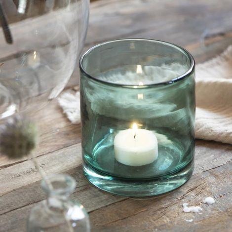 IB LAURSEN Teelichtglas Blau mundgeblasenes Glas