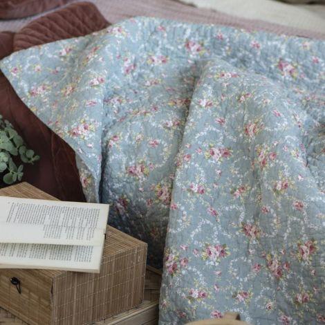 IB LAURSEN Tagesdecke Quilt Hellblau/Blumenmuster