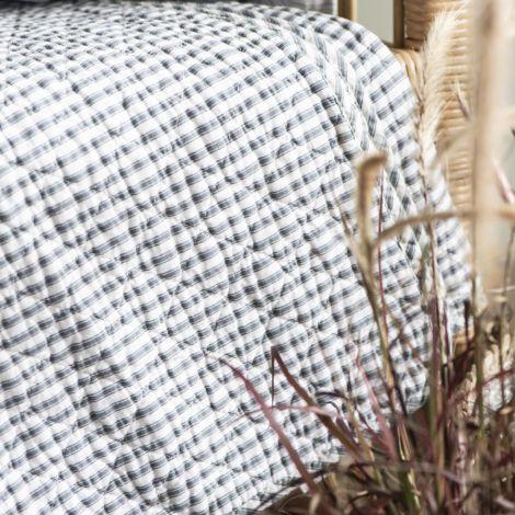 IB LAURSEN Tagesdecke Quilt Weiß/blaugraue Streifen