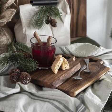 IB LAURSEN Schneidebrett mit Herzloch geöltes Akazienholz UNIKA