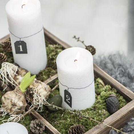 IB LAURSEN Kerze Rustikal Weiß 14 cm