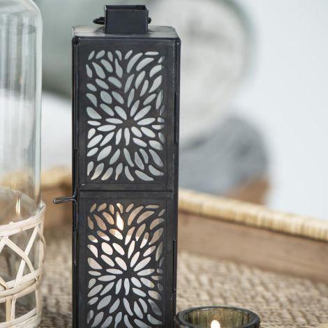 IB LAURSEN Laterne für Teelicht gemusterte Front hoch Dark
