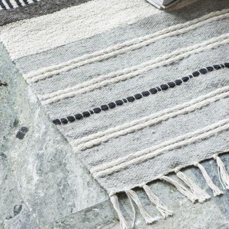 IB LAURSEN Teppich Natur/schwarz Gestreift