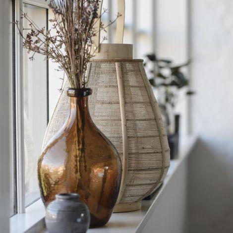 IB LAURSEN Windlicht konisch mit Glaseinsatz Sackleinen