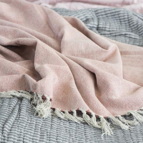 IB LAURSEN Kuscheldecke Plaid Creme/Faded Rose