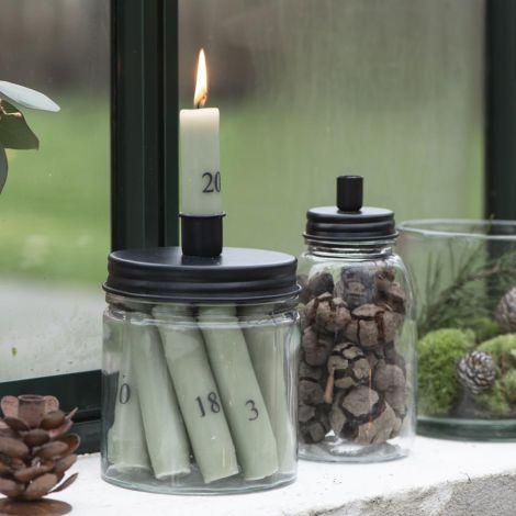 IB LAURSEN Kerzenhalter für Stabkerze Metalldeckel 15 cm
