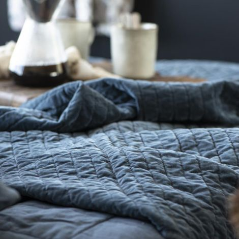 IB LAURSEN Tagesdecke Quilt Velour Historical Blue