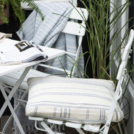 IB LAURSEN Sitzkissenbezug Natur mit blaugewebtem Muster 45x45 cm
