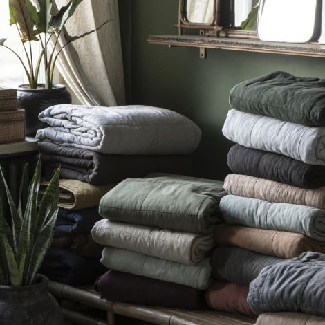 IB LAURSEN Tagesdecke Vintage Quilt Ash Grey