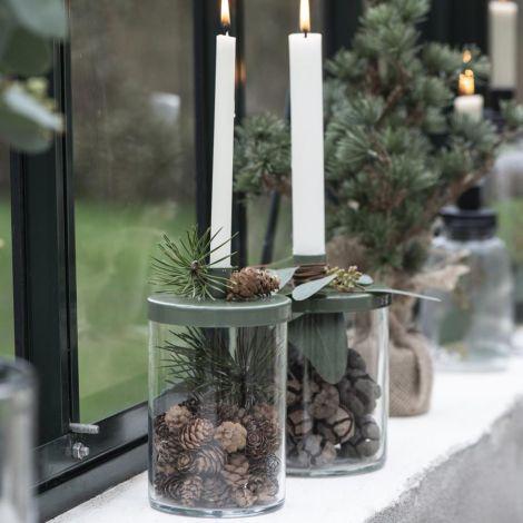 IB LAURSEN Kerzenhalter für schmale Kerze Metalldeckel 15,5 cm