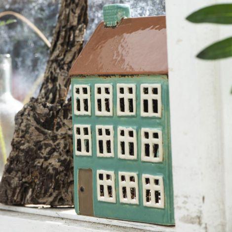 IB LAURSEN Teelichthalter Haus Nyhavn braunes Dach 2 Schornsteine