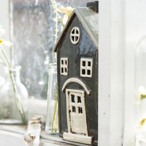 IB LAURSEN Teelichthalter Haus Nyhavn beiges Dach 1 Schornstein Bogen Bogen über Tür