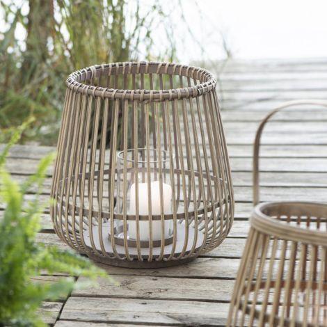 IB LAURSEN Laterne Bambus mit Glaseinsatz 2er-Set