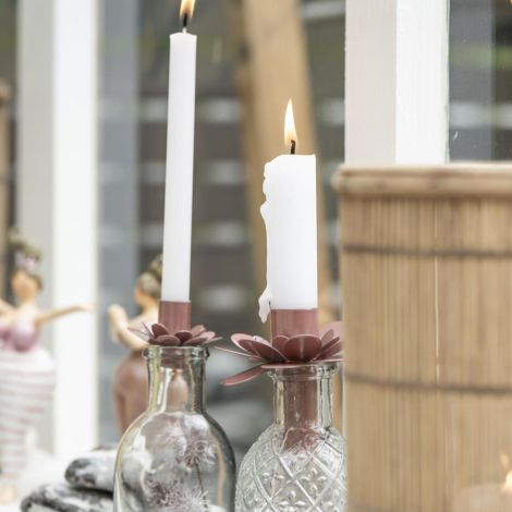 IB LAURSEN Kerzenhalter für schmale Kerze Blume Faded Rose