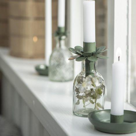 IB LAURSEN Kerzenhalter für Stabkerze Blume Olivengrün