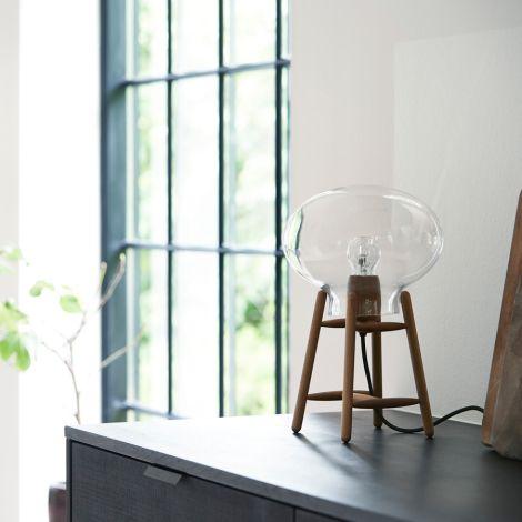 FDB Møbler U4 - Hiti Tischlampe Walnuss Klares Glas