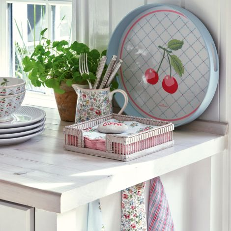 GreenGate Tablett Isa Pale Pink Rund 2er-Set