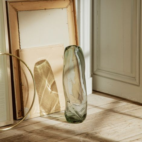 ferm LIVING Vase Water Swirl Tall Recycled clear