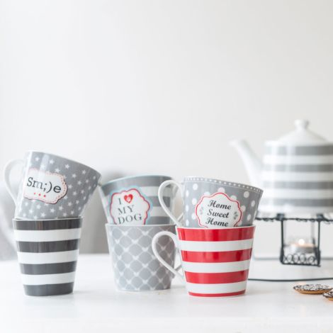 Krasilnikoff Happy Mug Becher Stripes Charcoal