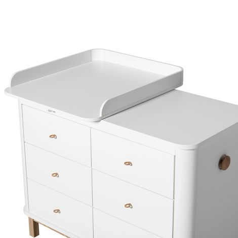 Oliver Furniture Wood Wickelkommode 6 Schubladen mit kleiner Wickelplatte Weiß/Eiche