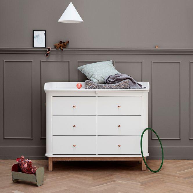 oliver furniture wood wickelkommode 6 schubladen mit gro er wickelplatte wei eiche online. Black Bedroom Furniture Sets. Home Design Ideas