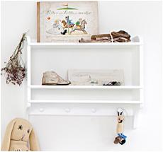 Oliver Furniture Bookshelf with Hooks White