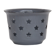 IB LAURSEN Teelichthalter Emaille Grau
