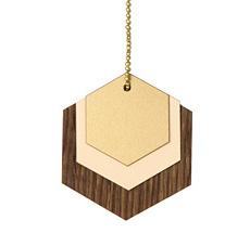ferm LIVING Dekoanhänger aus Holz Hexagon