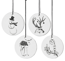 Bloomingville Weihnachtskugeln Print Weiß/Schwarz 4er-Set
