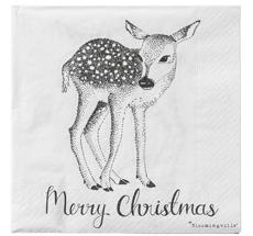 "Bloomingville Papier-Servietten ""Merry Christmas/Deer"" Weiß/Schwarz"