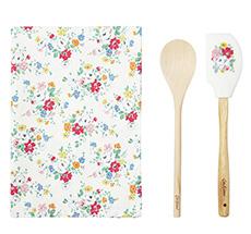 Cath Kidston Geschenkset Küchenutensilien Clifton Rose White 3-teilig