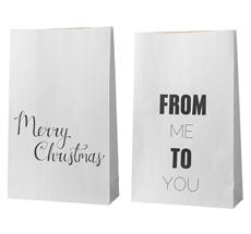 Bloomingville Geschenktüte Christmas Weiß 2er-Set