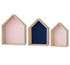 Bloomingville Deko-Regal Houses Rose/Navy/Rose 3er-Set