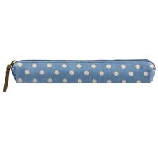 Cath Kidston Skinny Pencil Case D'luxe Little Spot Denim Blue