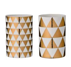 Bloomingville Windlicht Triangles White/Gold 2er Ser