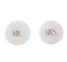 Bloomingville Hook 'Mr & Mrs' Shiny White w /Shiny Gold Text