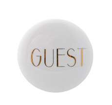 Bloomingville Hook 'Guest' Shiny White/Shiny Gold Text