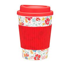 Cath Kidston Kaffeebecher mit Deckel Mews Ditsy White