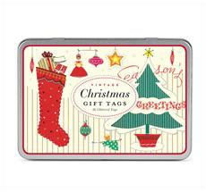 Cavallini Geschenkanhänger Vintage Christmas Glitter