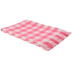 Rice Tagesdecke Baby Alpaka Kariert Neon Pink