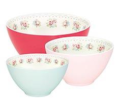 GreenGate Melamine Bowl Abelone White Set of 3