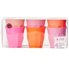 Rice Melamin Becher Curved Pink/Orange 6er-Set