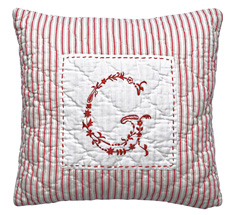 "GreenGate Kissen ""G"" Red Embroidery 40x40"