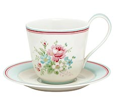 GreenGate Cup & Saucer Marie White H: 9 cm