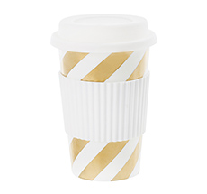 Miss Étoile Becher To-Go Diagonal Stripe Gold 0,5 L