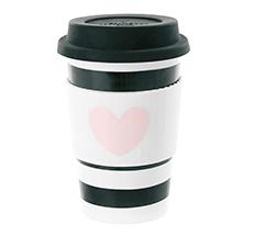 Miss Étoile Becher To-Go Heart Rose Black Stripe 0,5 L